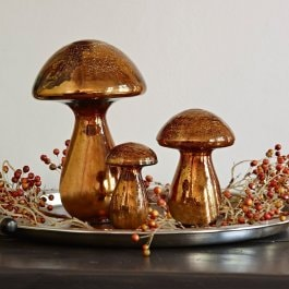 Deko-Pilze 3er Set Mushrooms antikkupfer