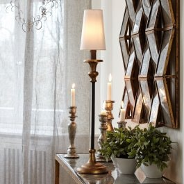 Tischlampe Ducey antikgold/creme
